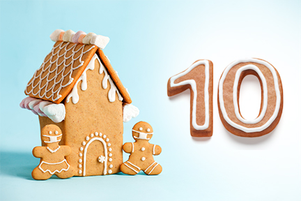 Gingerbread house next to the number 10