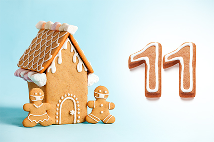 Gingerbread house next to the number eleven