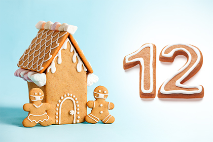 Gingerbread house next to the number twelve