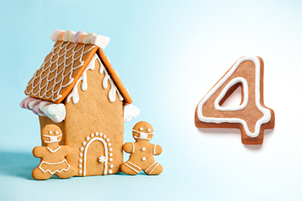 Gingerbread house next to the number four