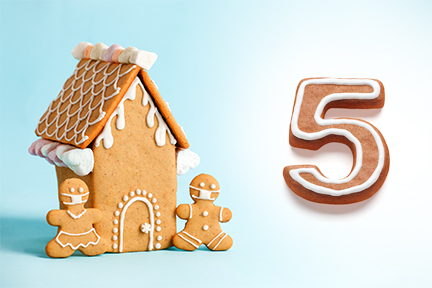 Gingerbread house next to number five