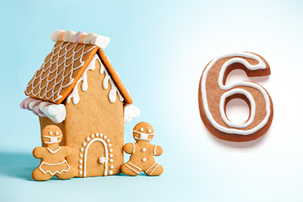 Gingerbread house next to the number six