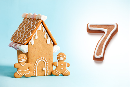 Gingerbread house next to the number seven
