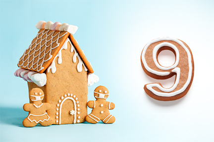 Gingerbread house next to number nine