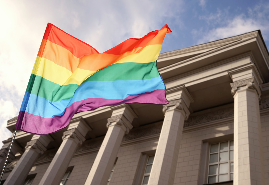 Pride Flag in front of Courthouse