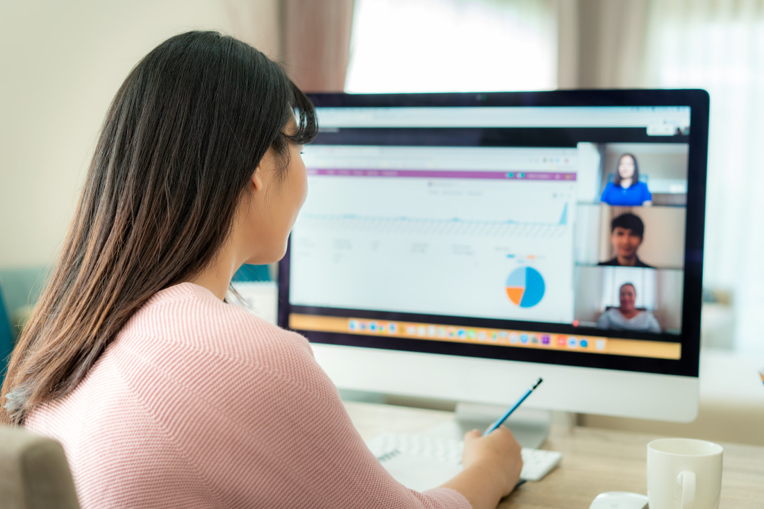 Businesswoman on video conference