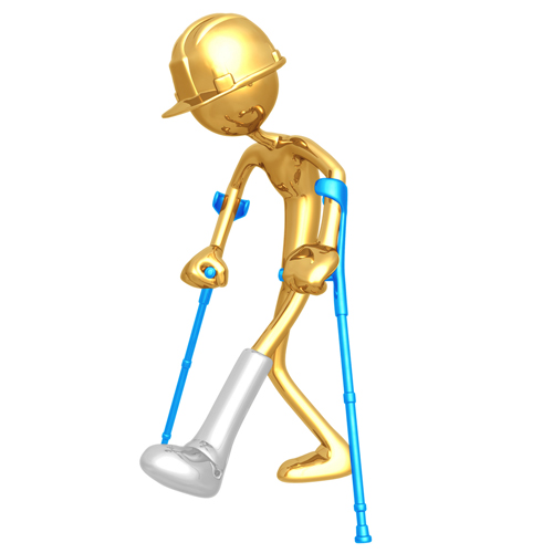 Worker on Crutches