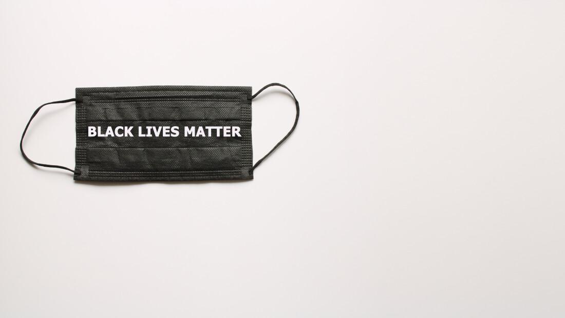 Black Lives Matter on protective mask