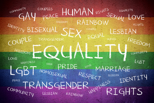 Equality Word Cloud Over LGBTQ Flag