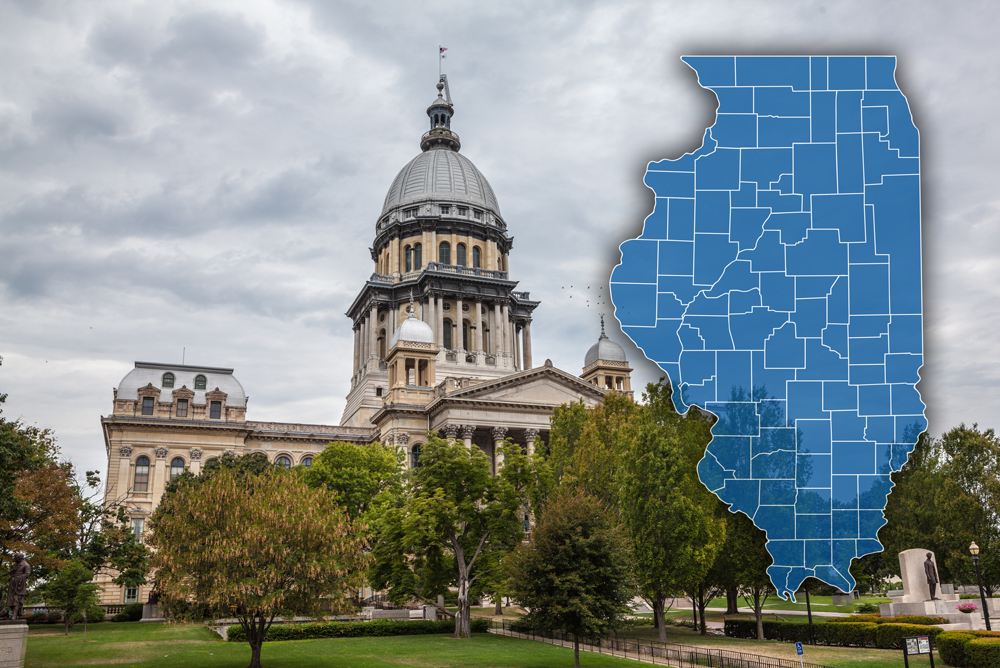 Illinois State Capital with Counties