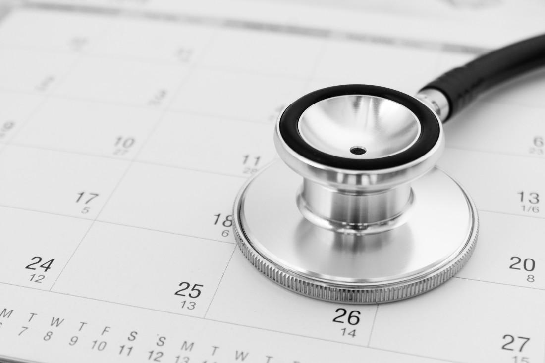 Stethoscope on calendar