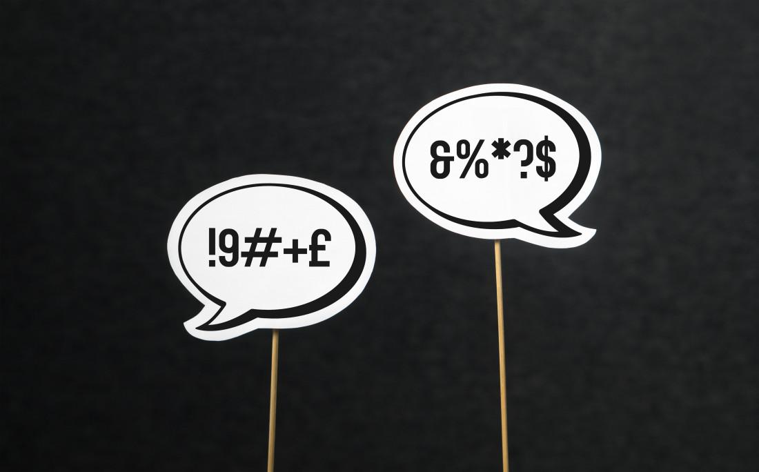 Swear Word Symbols in Speech Bubbles