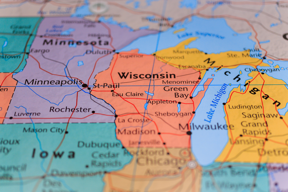 Wisconsin and Michigan on Map