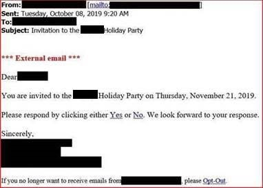 Holiday Party Scam Email