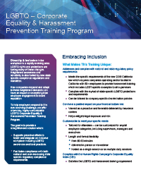 Hinshaw's LGBTQ Corporate Equality & Harassment Prevention Training Program
